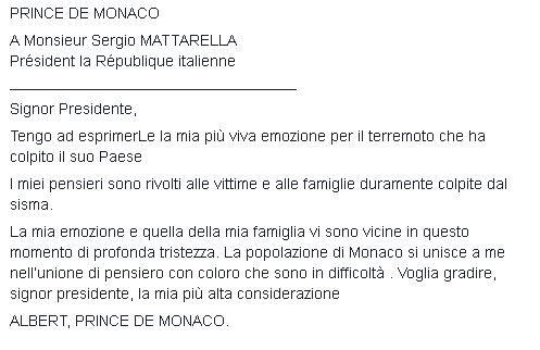 Alberto, principe di Monaco anche lui scrive all'Italia.