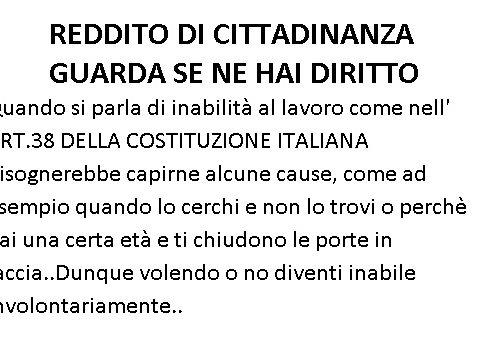 REDDITO DI CITTADINANZA IN ARRIVO….!!!