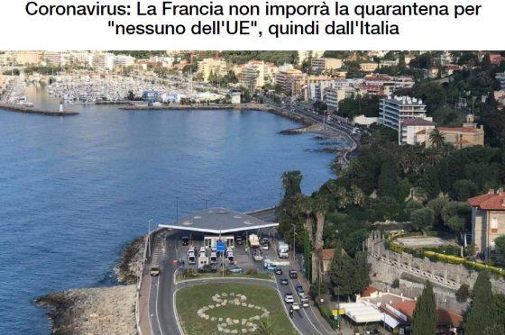 Frontiere aperte da o per la Francia dal 3 giugno.