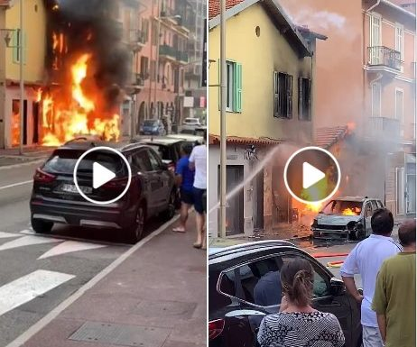 Incendio a Saint Roman all'entrata di monaco. Video.