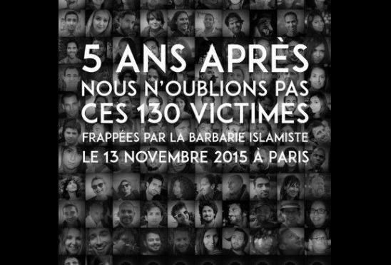 Attentato Bataclan. 5 anni dopo, non dimentichiamo i volti delle 130 persone innocenti uccise dalla barbaria islamista.