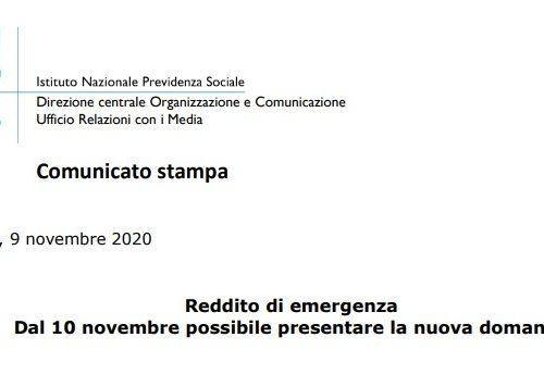 Da oggi, martedì 10 novembre 2020, è possibile presentare la nuova domanda di Reddito di emergenza prevista dal #DecretoRistori per i mesi di novembre e dicembre 2020.
