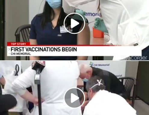 Svenuta. La prima infermiera vaccinata in questo ospedale dopo 17 minuti.