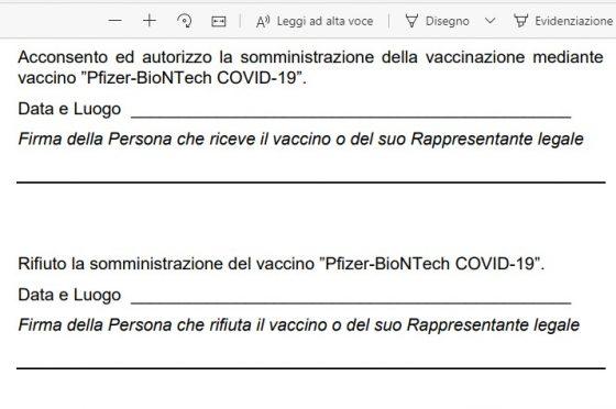 Vaccino Pfizer. Modulo di adesione in pdf